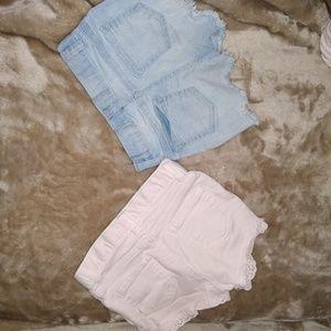 2 pair 3t Jean shorts for toddler girl cat & jack